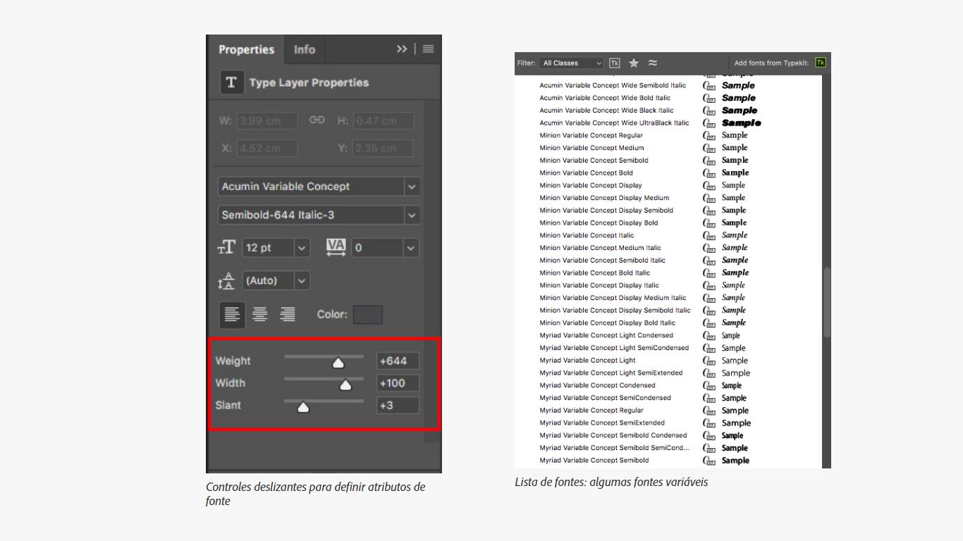 configurações de fontes variáveis photoshop cc