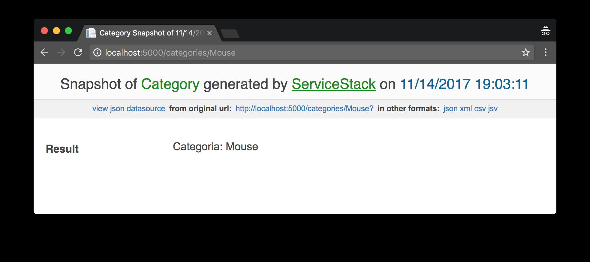 Print do exemplo do Service Stack Funcionando.
