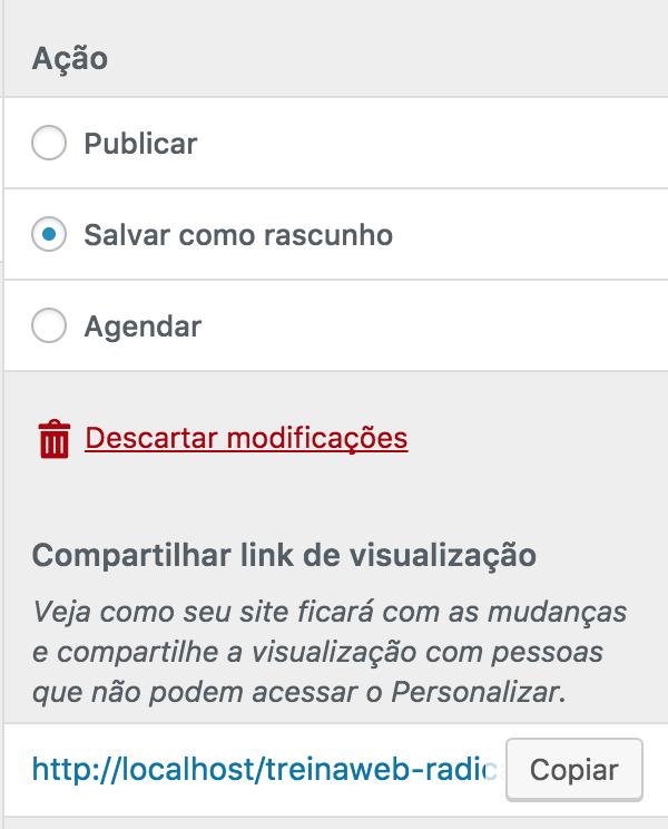 Painel de personalização WordPress