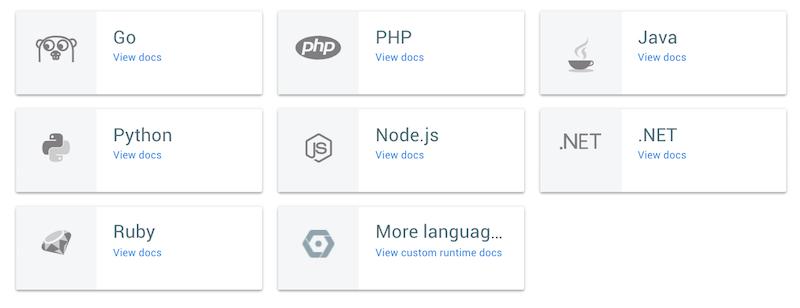 Linguagens suportadas pelo app engine