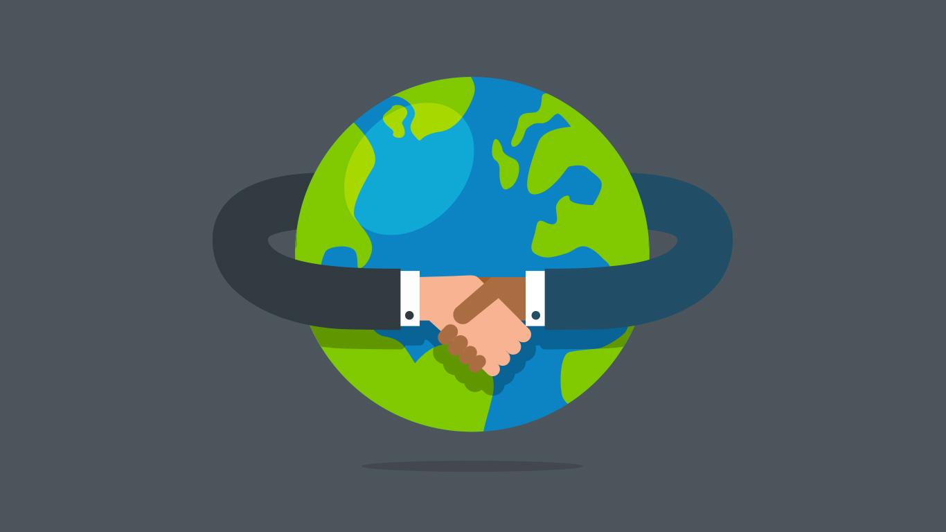 Planeta com mãos sendo apertadas