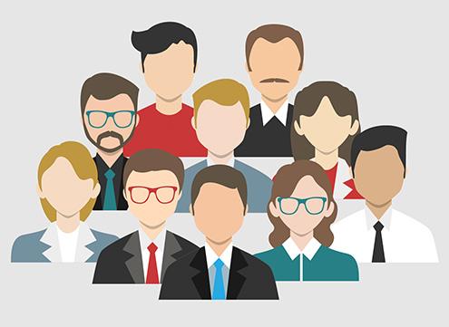 Desenho com pessoas diversas