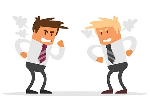 Desenho de dois homens irritados