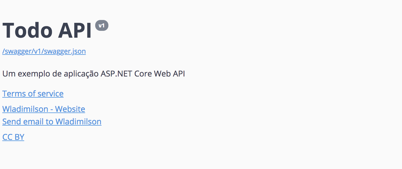 Swagger UI mostrando a descrição da API