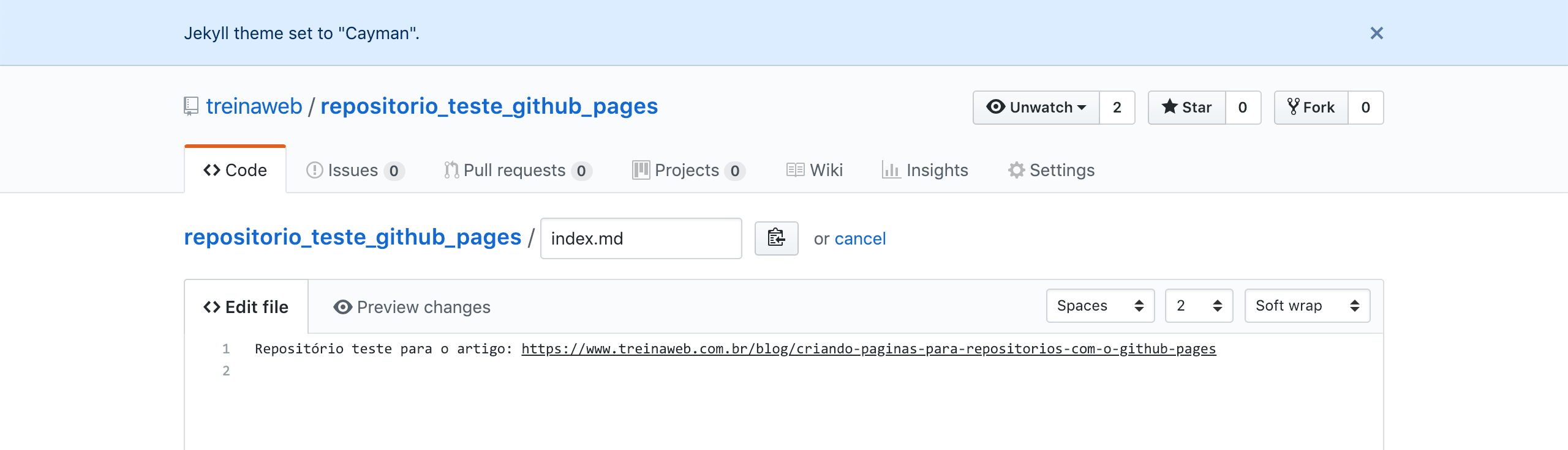 Repositório Github pages index