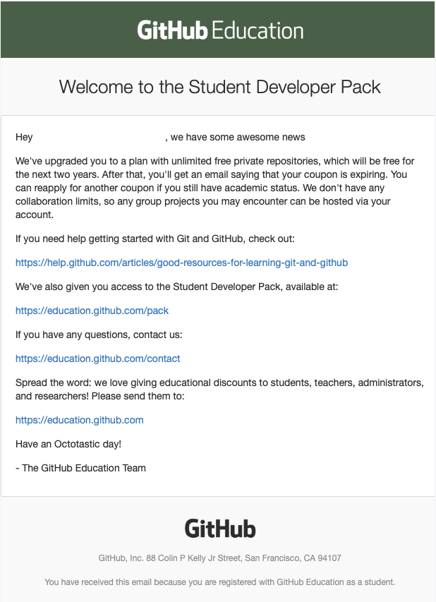 Tela email Github Education
