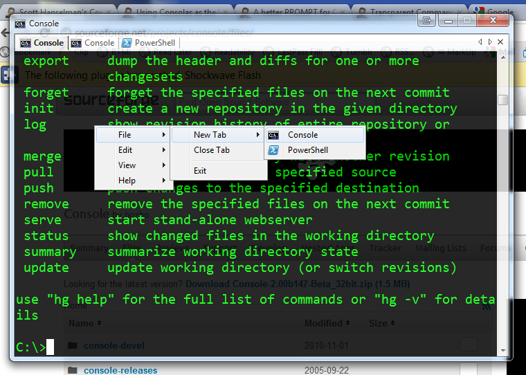 tela do terminal console2