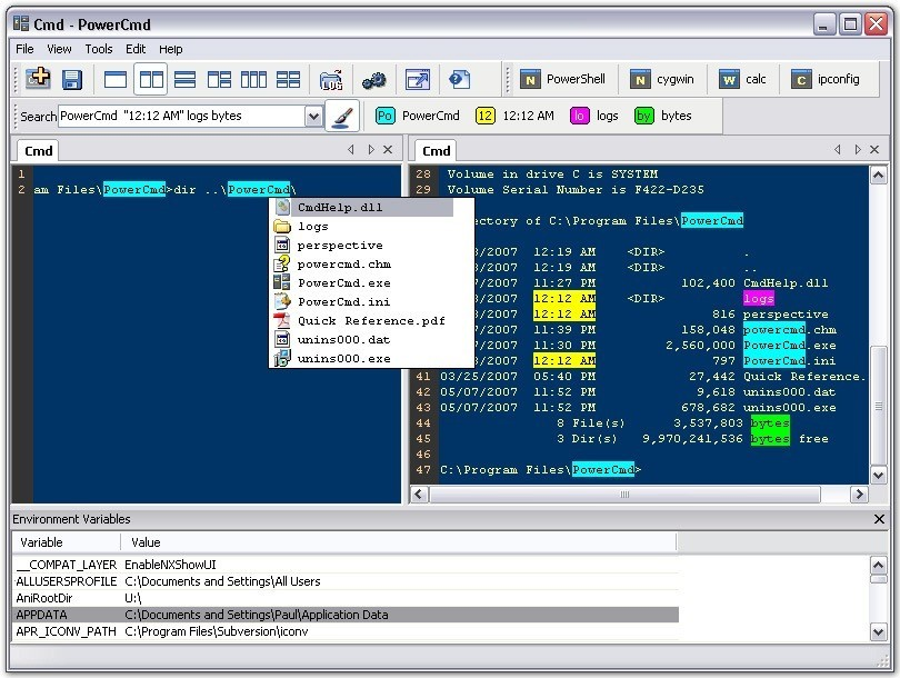 tela do terminal powercmd