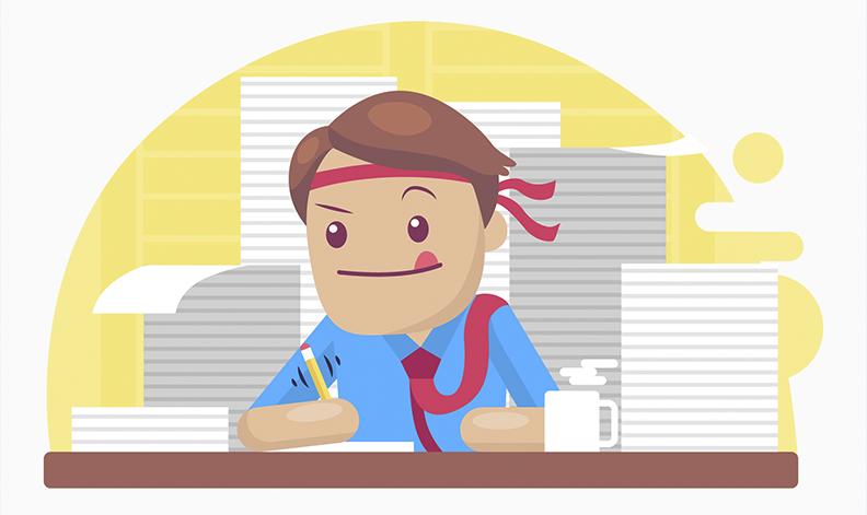 Desenho com um rapaz trabalhando