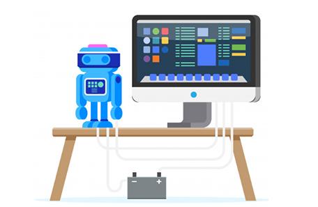 Desenho de um robo em um computador