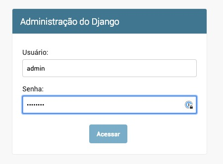 Tela de login do django admin