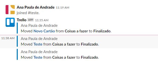 Canal slack exibindo notificaçõs do Trello