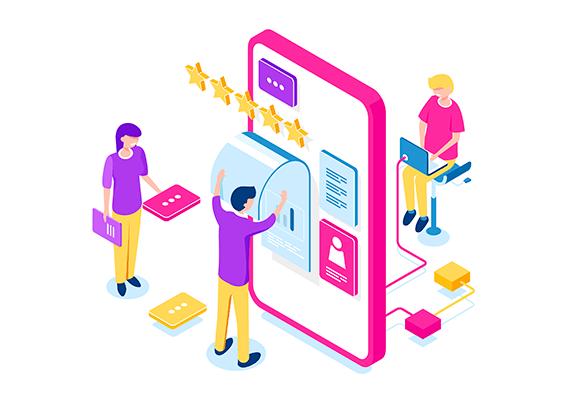 desenho de analogia com pessoas desenvolvendo um aplicativo