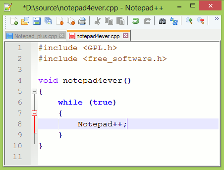 Interface NotePad++