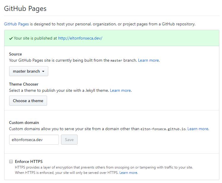 Informando dominio personalizado