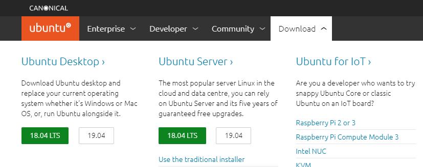 Página de Download do Ubuntu