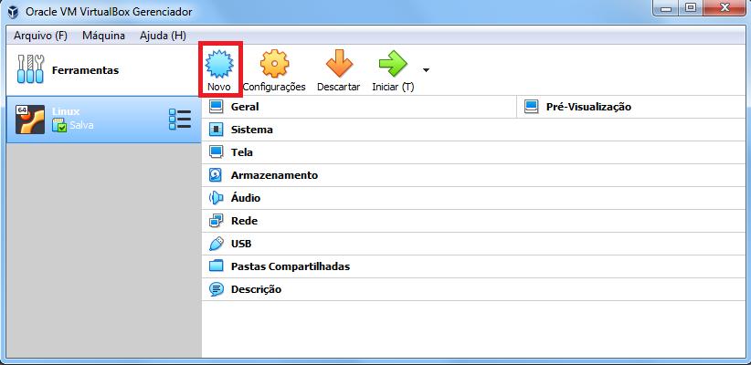 Tela virtual box iniciando VM