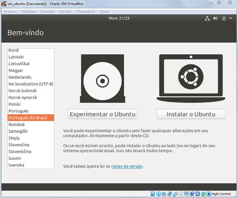 Selecionando Idioma na instalação do Ubuntu