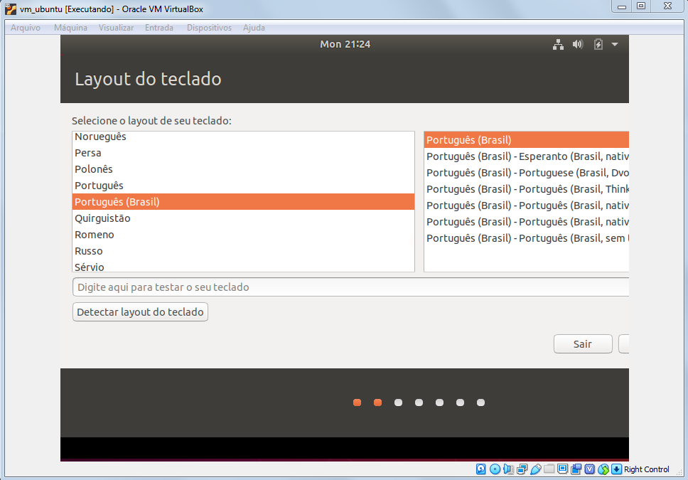 Selecioanndo layout de teclado na instalação do Ubuntu