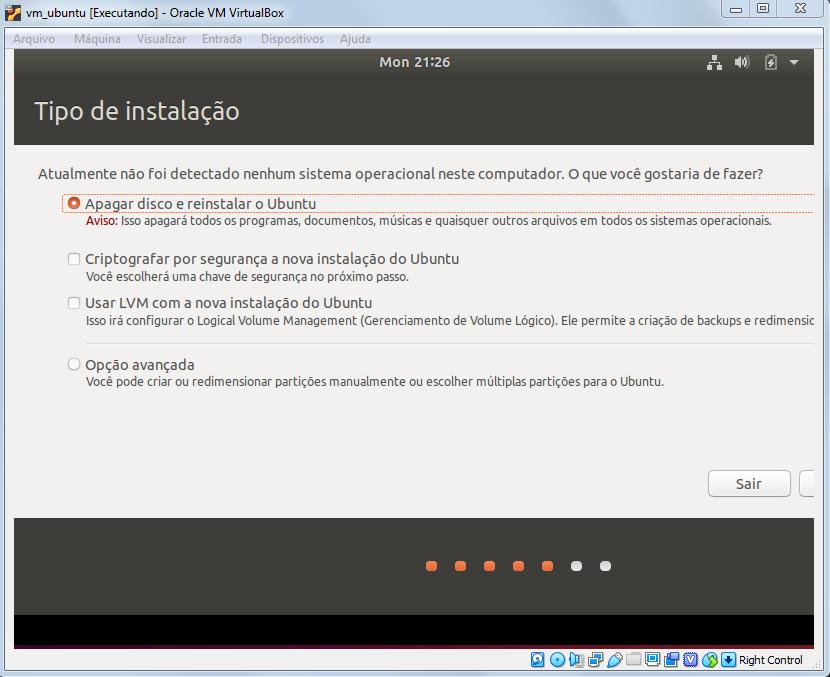 Selecionando opção de instalação do Ubuntu