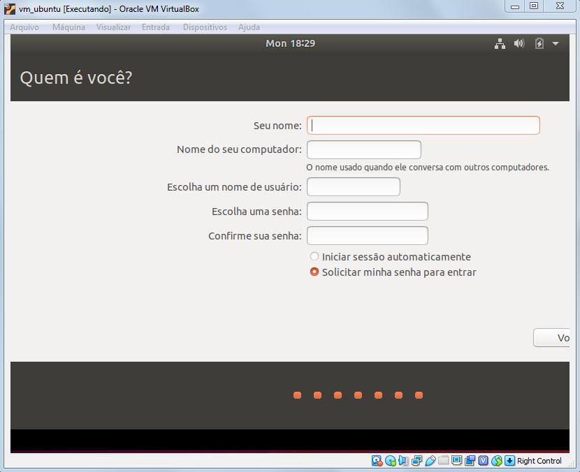 Inserindo nome e senha para autentiação no Ubuntu