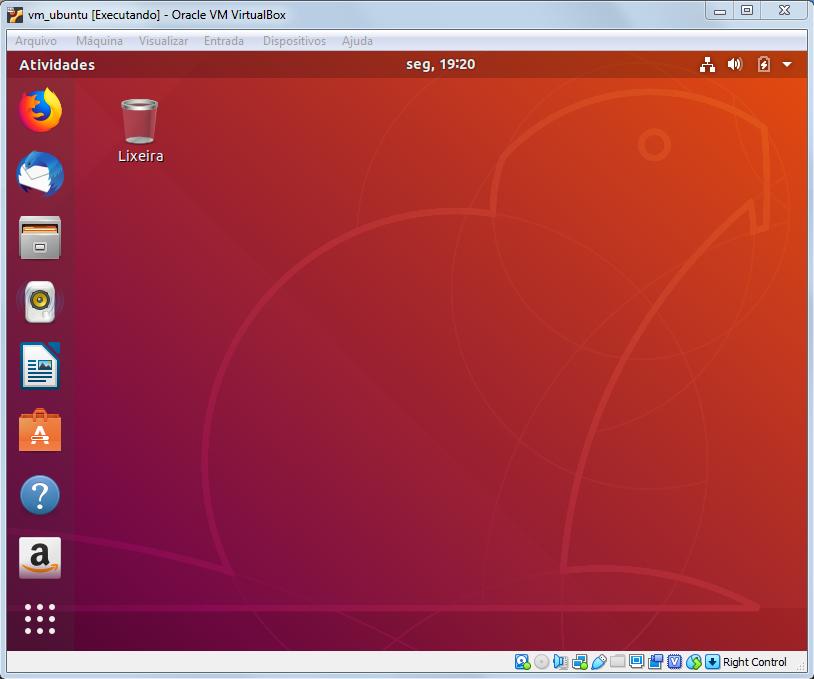 Máquina Virtual com Ubuntu instalada e pronta para uso