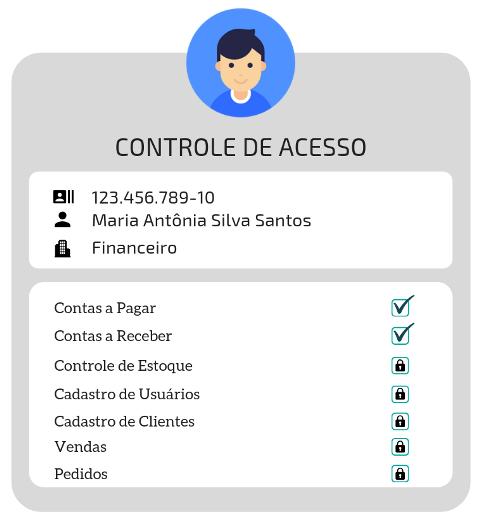 Tela de controle de acesso e autorização