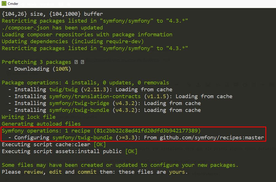 terminal com resultado pacote symfony