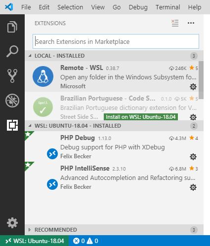 Extensões instalados no WSL