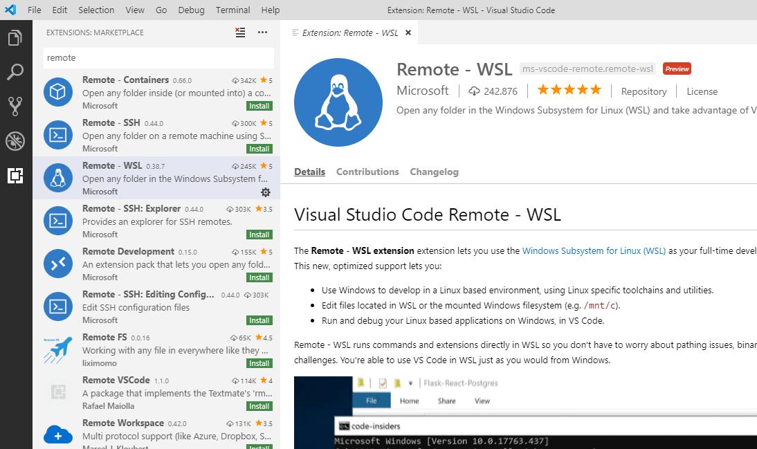 Extensão Remote - WSL