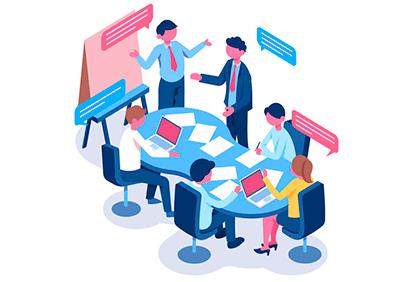 Desenho com reunião entre pessoas