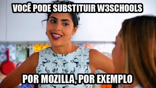 Troque W3Schools por Mozilla