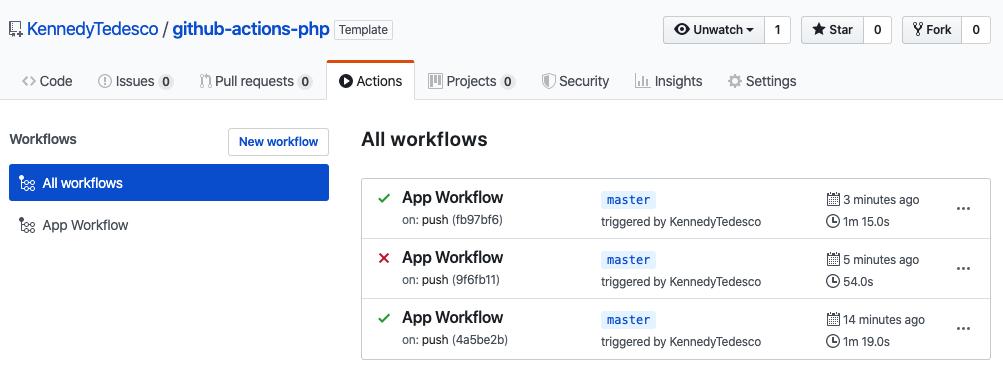 Tela com a lista dos Workflows