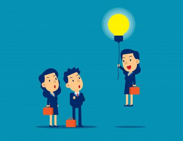 Desenho com 3 pessoas com uma acendendo uma lâmpada