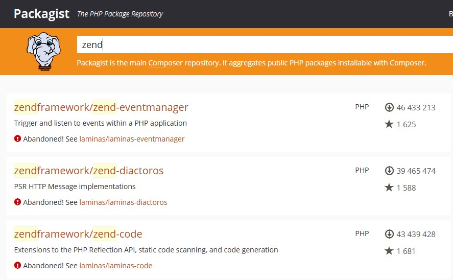 Componentes do Zend Framework descontinuados