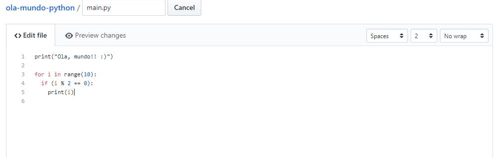 Exemplo de edição de código direto no github