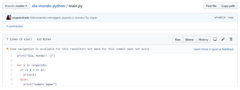 finalizando edição de código pelo github