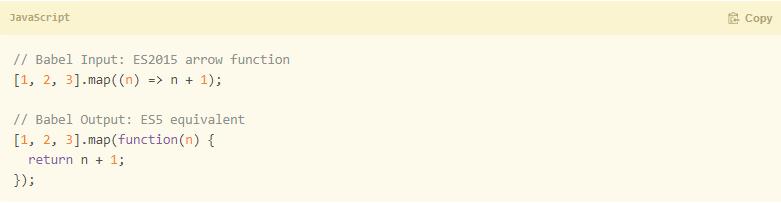código gerado pelo Transpilador Babel