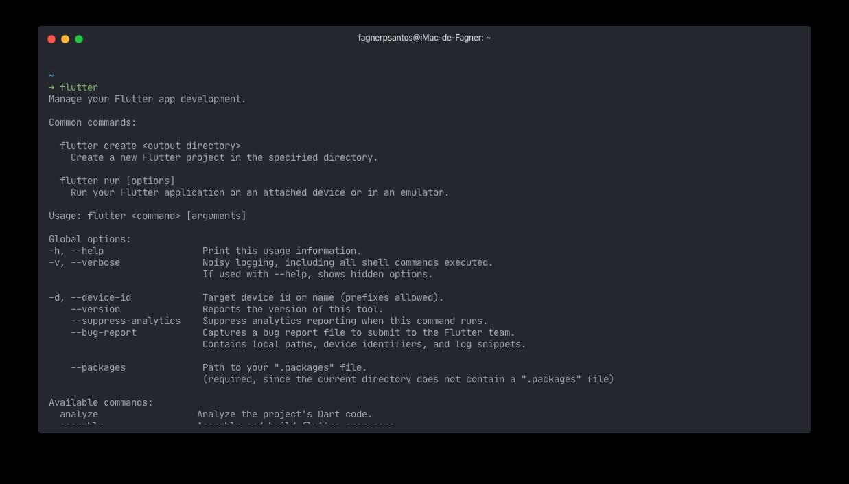 Comando Flutter executado no terminal do macOS