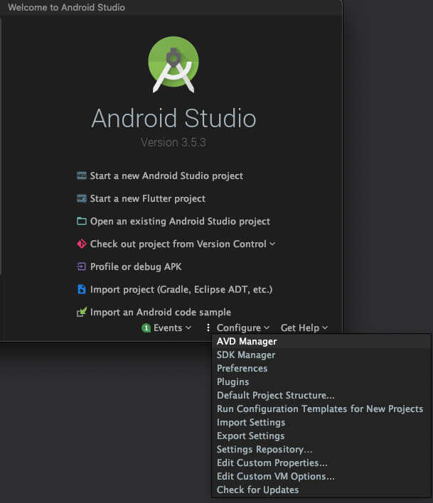 Abrindo o AVD Manager no Android Studio