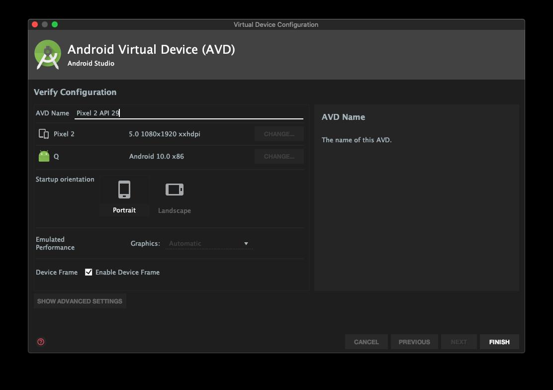 Emulador criado no Android Studio