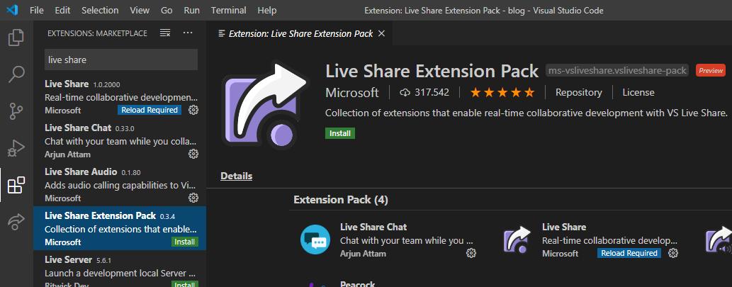 Painel de instalação do Visual Studio Code mostrando a extensão Live Share para desenvolvimento colaborativo em tempo real