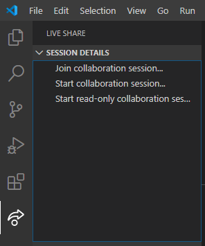 Painel da extensão live share para inicio de sessão de desenvolvimento colaborativo em tempo real
