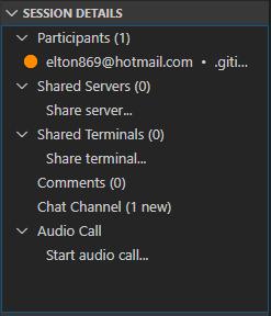 Painel de status da sessão de desenvolvimento em equipe da extensão live share