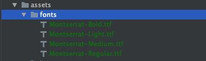 Lista de fontes externas adicionadas ao projeto flutter