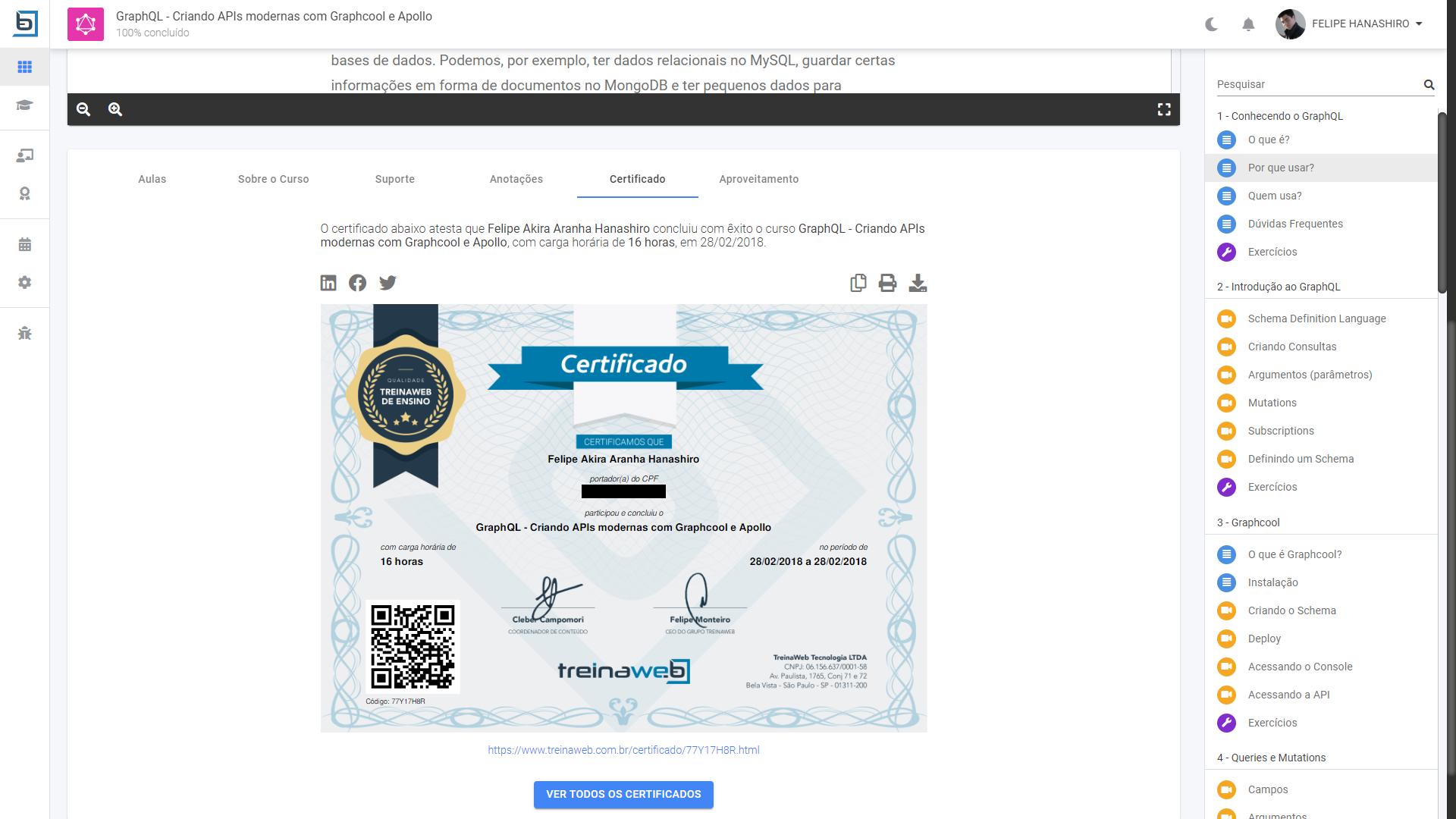 Tela de compartilhamento de certificados