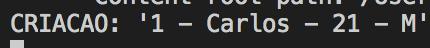 """Print do terminal do Visual Studio Code mostrando o texto: """"CRIACAO: '1 - Carlos - 21 - M'"""""""
