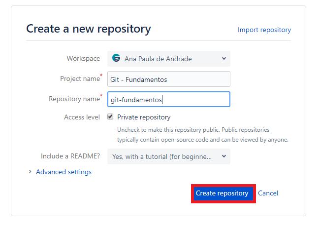 Criando repositório no BitBucket