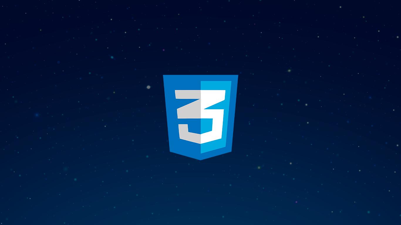 Céu estrelado com o logo do CSS3 no centro