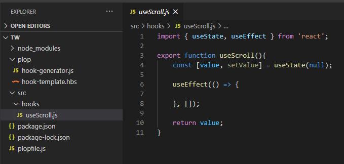 Plop.js - React Hook gerado automaticamente